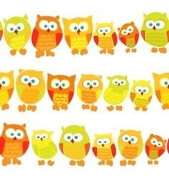 Seamless pattern with owls on white background vector image