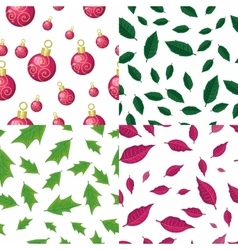 Seamless Patterns with leaves and christmas toys vector image