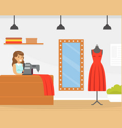 seamstress sewing fashionable clothes dressmaker vector image