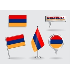 Set armenian pin icon and map pointer flags vector