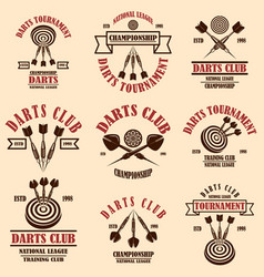 set darts club label templates design element vector image
