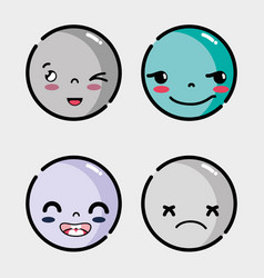 set faces emoji with different emotion vector image