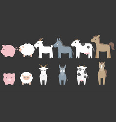 set of animal farm elements for graphic info vector image