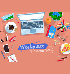 Set of office workplace vector