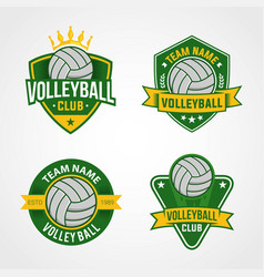 set volleyball logo template vector image