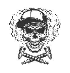Skull wearing baseball cap and bandana vector