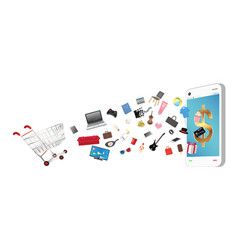 smartphone with general shopping object vector image