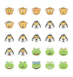 Smiley flat icons set 31 vector