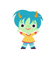 Smiling horned troll boy cute fantasy creature vector