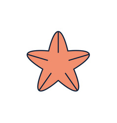 starfish sea life summer icon line and fill vector image