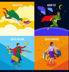 Super heroes isometric design concept vector