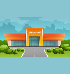 supermarket building on the background of the city vector image