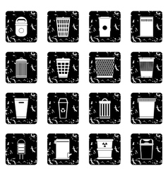 Trash can set icons grunge style vector