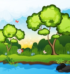 Trees on the riverbank vector image