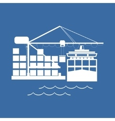 Unloading Containers from a Cargo Ship vector image