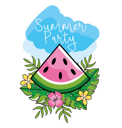 watermelon fruit with leaves and flowers to summer vector image