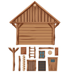 Wooden cottage and set windows and doors vector
