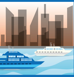 yacht navigating in the ocean near the city vector image vector image