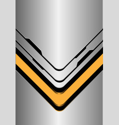 yellow arrow direction on silver black line vector image