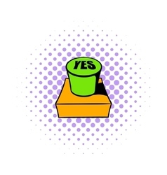Yes green button icon comics style vector image