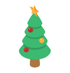 christmas tree icon isometric 3d style vector image