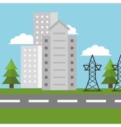 electricity city high voltage vector image