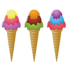 icecream cones vector image vector image