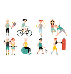 kids sports activity collection exercising vector image