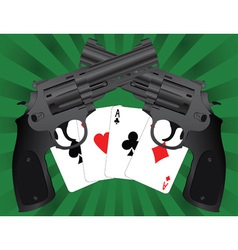 two pistols and four aces vector image vector image