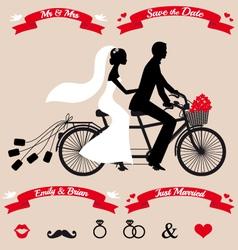 wedding couple on tandem bicycle set vector image