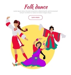 Folk Dance Conceptual Flat Style Web Banner vector image vector image