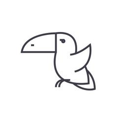 toucan bird line icon sign vector image
