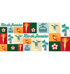 travel and tourism icons Rio De Janeiro vector image vector image