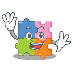 waving puzzle character cartoon style vector image