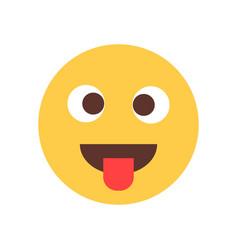 yellow smiling cartoon face show tongue fool emoji vector image vector image
