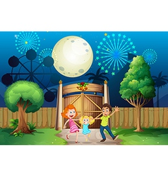 A happy family inside the yard vector image vector image