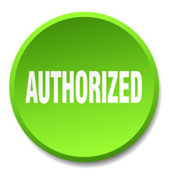 Authorized green round flat isolated push button vector