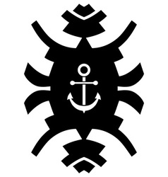 Black and white hipster ornament with anchor vector image