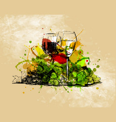 colored hand sketch still life with glasses vector image vector image