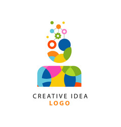 colorful logo design with abstract geometric vector image vector image