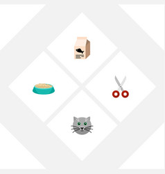 flat icon pets set of feeding fish nutrient vector image vector image