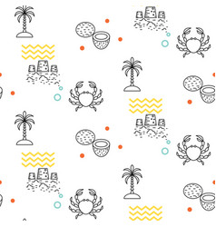 line icon beach seamless pattern vector image vector image