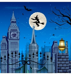 Witch flying on Halloween Night vector image vector image
