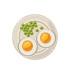 Breakfast with grilled eggs and green peas served vector