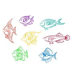 Set of seven colorful aquarium fishes vector image vector image
