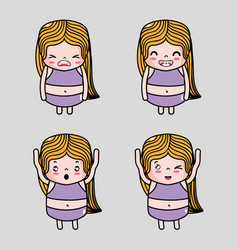 set woman emoji with faces character vector image