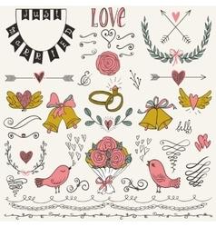 Wedding graphic set arrows hearts birds bells vector