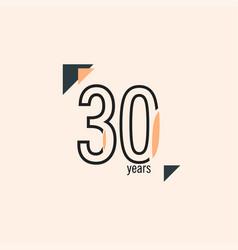 30 years anniversary retro line template design vector