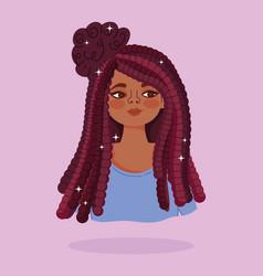 african american girl long hair cornrows portrait vector image