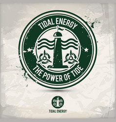 alternative tidal energy stamp vector image